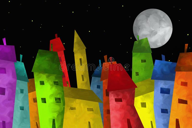 Download Colorful city stock illustration. Illustration of full - 28843064