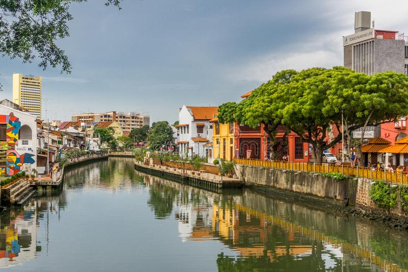 Colorful Buildings and River in Melacca, Malaysia stock photography