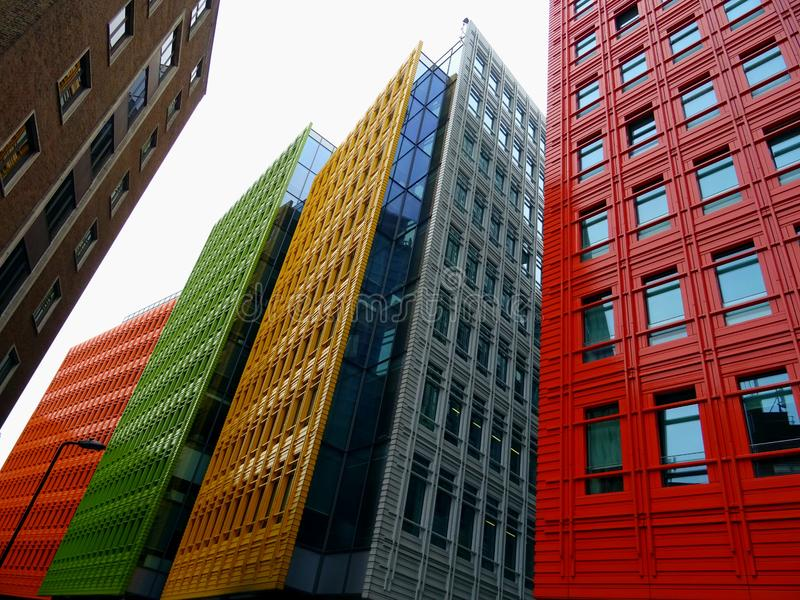 Colorful city architecture stock images
