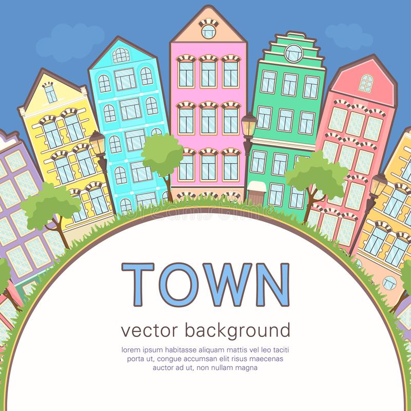 Colorful city background, abstract stylized houses card, banner, cover. Multicolored European houses in row, blue sky, lawn,. Lights and trees and space for stock illustration