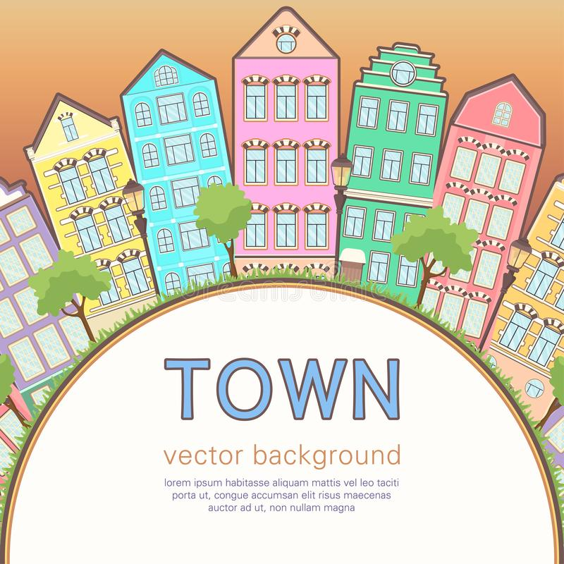 Colorful city background, abstract stylized houses card, banner, cover. Multicolored European houses in row, sunset sky, lawn,. Lights and trees and space for royalty free illustration