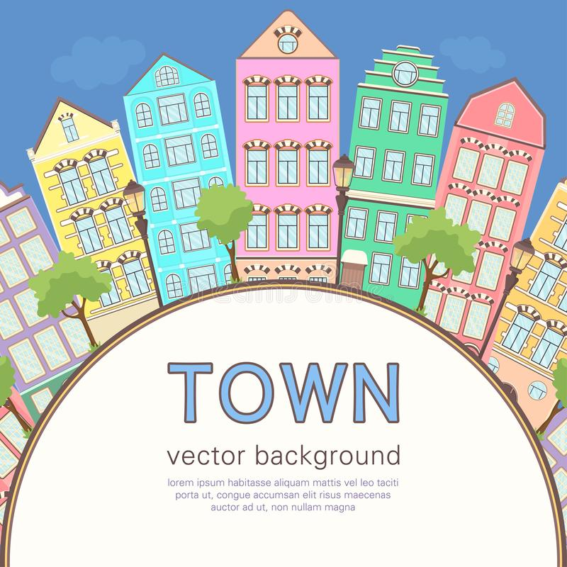 Colorful city background, abstract stylized houses card, banner, cover. Multicolored European houses in row, blue sky, lawn,. Lights and trees and space for royalty free illustration