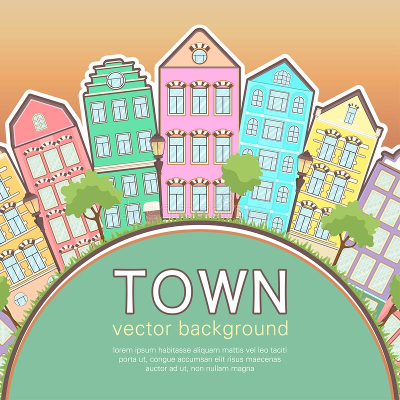 Colorful city background, abstract stylized houses card, banner, cover. Multicolored European houses in row, sunset sky, lawn,. Lights and trees and space for stock illustration