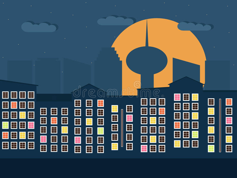 Colorful City At Night. Apartments For Sale / Rent. Real Estate stock illustration