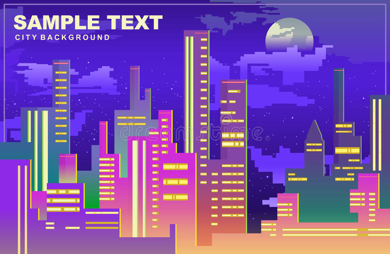 Colorful city panorama in dark blue tones, Silhouettes of buildings, cityscape at night, vector background. Tall buildings, towers, skyscrapers. Flat style stock illustration