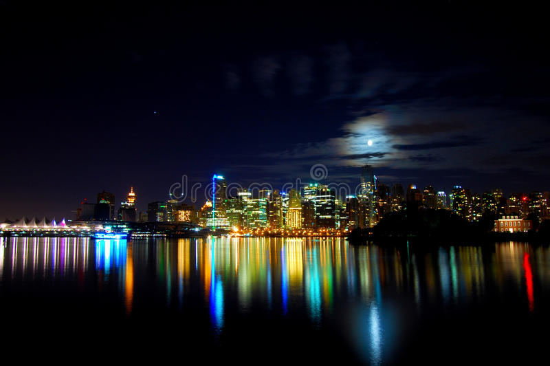 Colorful city skyline Vancouver stock image