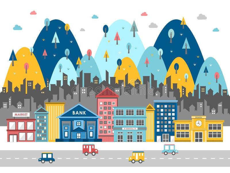 Colorful city street scene in flat design stock illustration