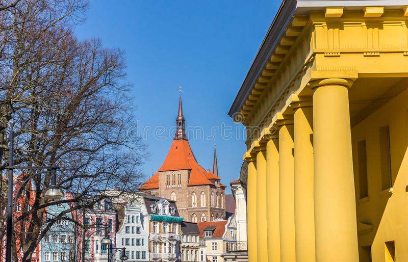 Colorful cityscape of historic buildings in Rostock stock photo