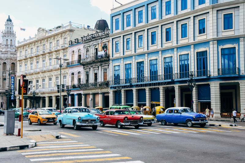 Colorful classic cars drive by old colorful buildings in Havana, Cuba. Many colorful classic cars drive by old colorful buildings in Havana, Cuba royalty free stock photo