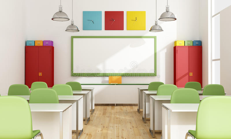 Modern Classroom Students ~ Colorful classroom stock illustration of