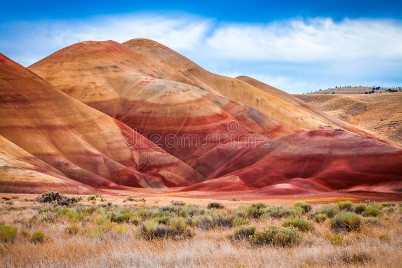 Colorful clay hills in the Painted Hills of Oregon royalty free stock photos