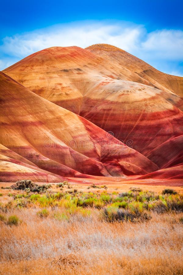 Colorful clay hills in the Painted Hills of Oregon stock images