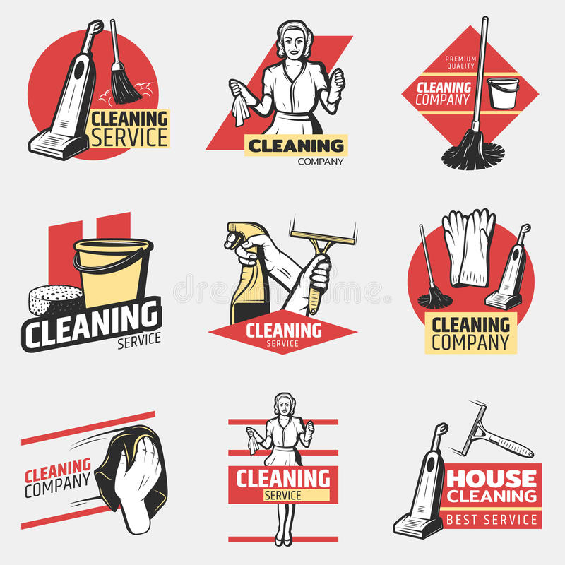Colorful Cleaning Company Logotypes royalty-vrije illustratie