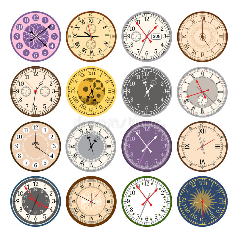 Colorful clock faces vintage modern parts index dial watch arrows numbers dial face vector illustration vector illustration