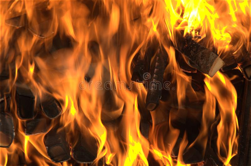 Colorful close up of a fire burning stock photos