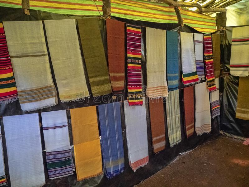 Colorful cloth bedspreads on the market at Lake Tana in Ethiopia royalty free stock photography