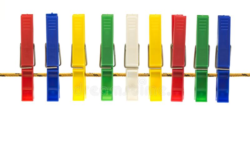 Colorful cloth pegs royalty free stock images