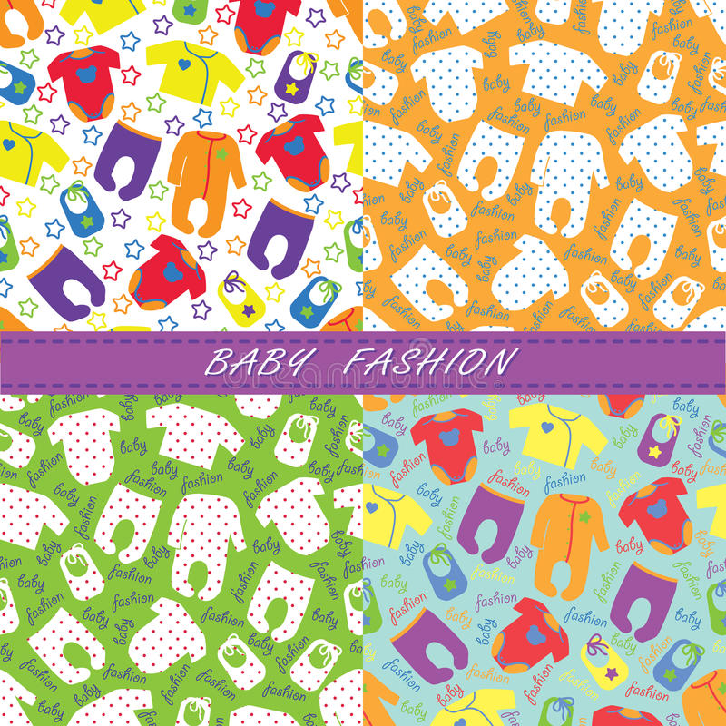 Download Colorful Clothes For Newborn Baby In Seamless Pattern Stock Vector