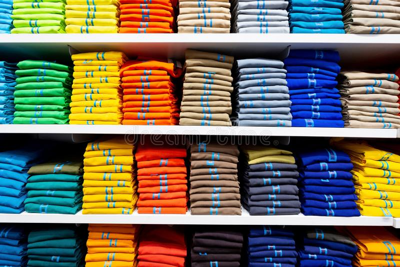 Colorful clothing neatly stacked royalty free stock photo