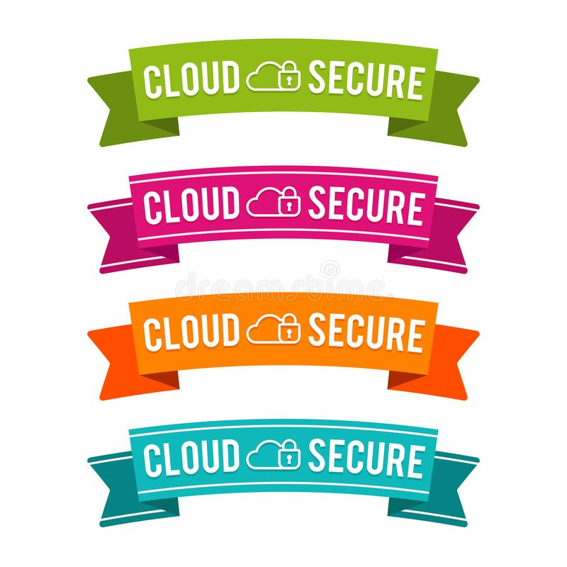 Colorful Cloud secure ribbons. Eps10 Vector. Data secure banner vector illustration