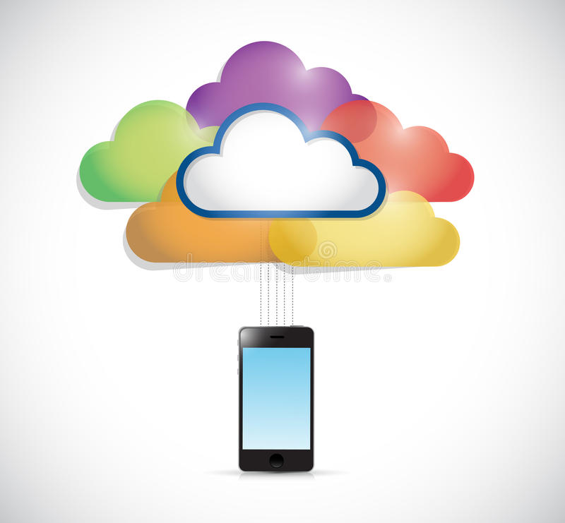 Colorful clouds connected to a smartphone. Illustration design over a white background vector illustration