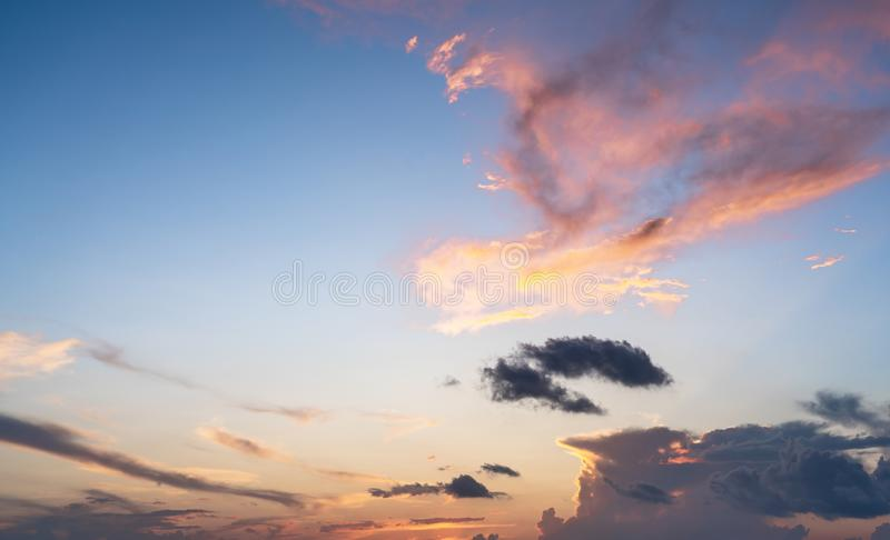 Colorful clouds on sunset blue and pink sky, nature background. Colorful clouds on sunset sky, nature background stock photography