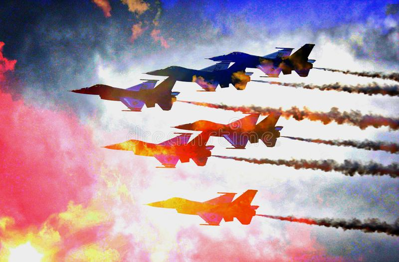 Colorful Cluster of Air Force Jets Flying in the Clouds - teamwork!. A unit of Air Force Jets fly high though colorful clouds. To fly in this close formation stock images