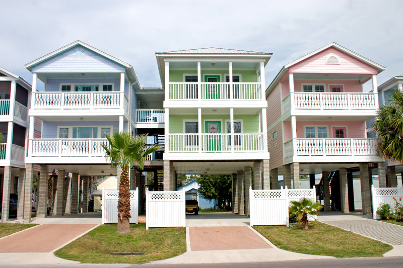 Download Colorful coastal rentals stock photo. Image of pastel - 2118896
