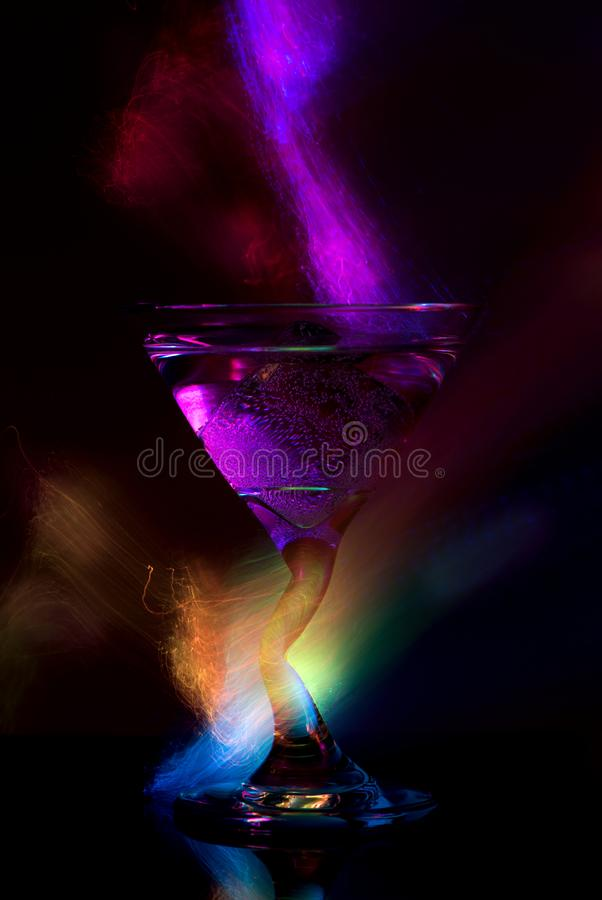 Cocktail Glass With Neon Light. Stock Photo - Image of