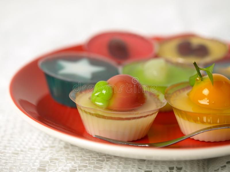 Colorful Coconut jelly Thai dessert. With Look Choup , the dessert plated balls royalty free stock image