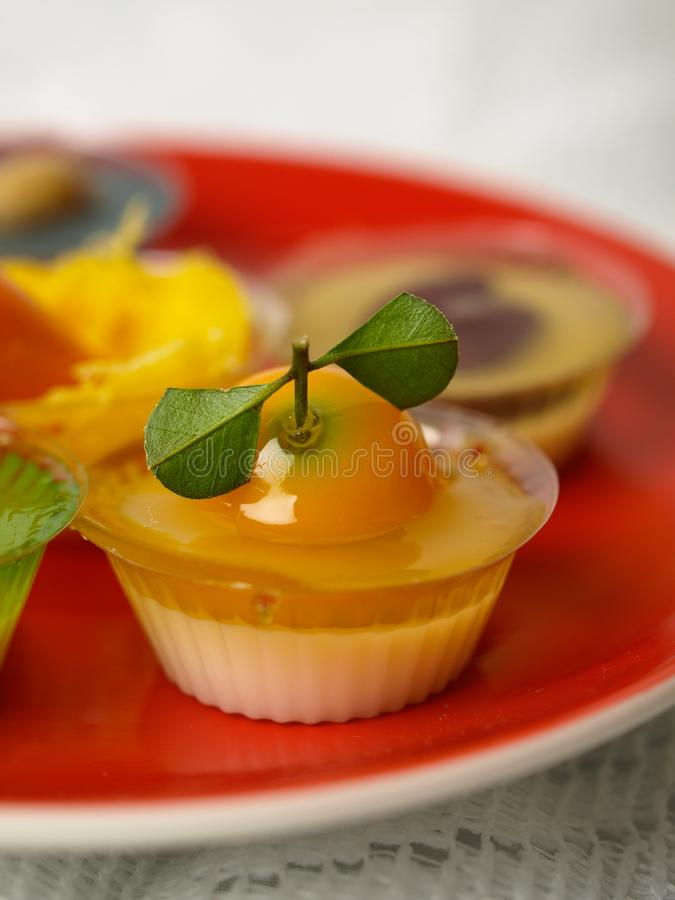 Colorful Coconut jelly Thai dessert. With Look Choup , the dessert plated balls royalty free stock photo