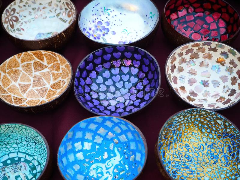 Colorful Coconut Shell Bowls t the Weekend Street Market royalty free stock photography
