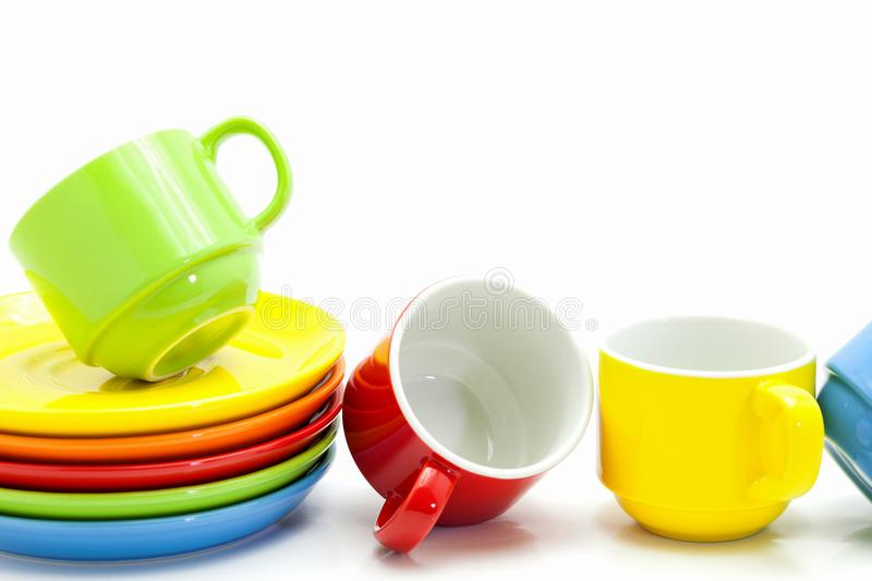 colorful coffee cups isolated on white background stock image