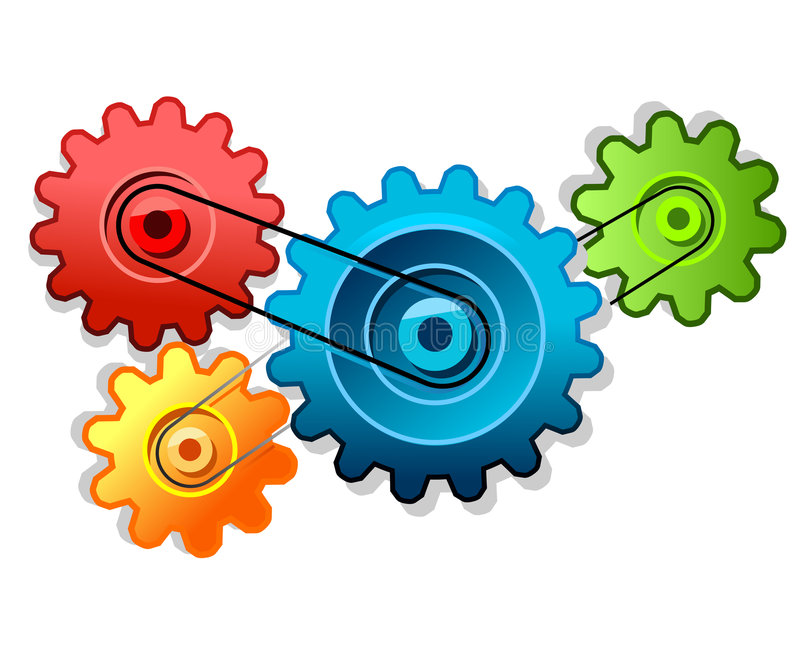 Colorful cogs forming gear royalty free illustration