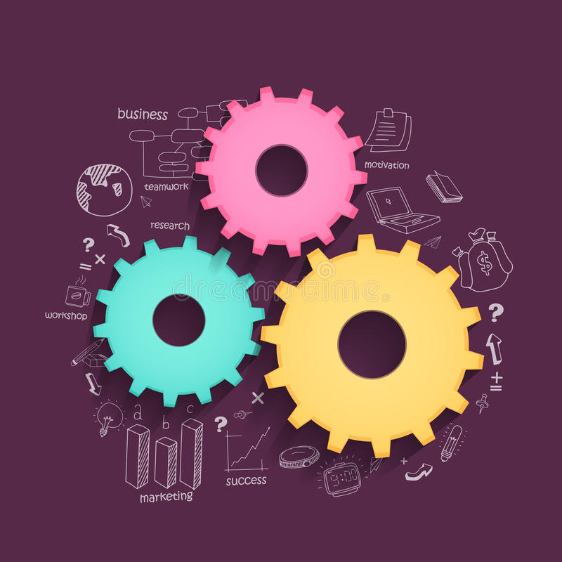 Colorful cogwheels for business. Glossy colorful cogwheels with various statistical elements on purple background for business reporta and professional vector illustration
