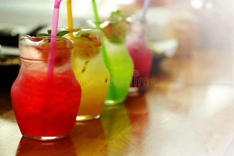 Colorful cold Italian soda syrup Serve in jar stock photos