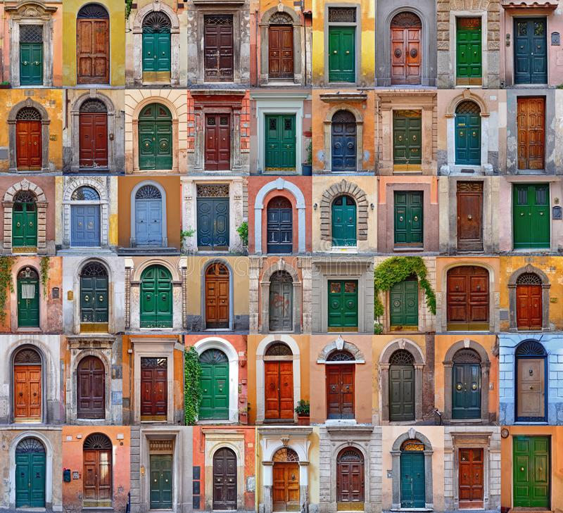 Colorful collage made of doors from Rome stock photos