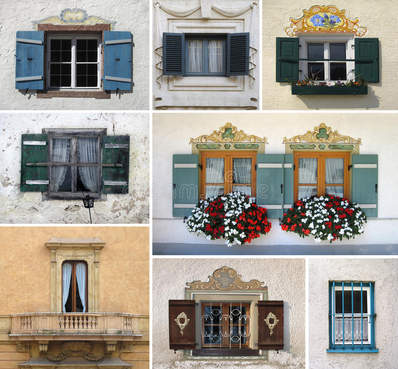 Colorful collage made of windows