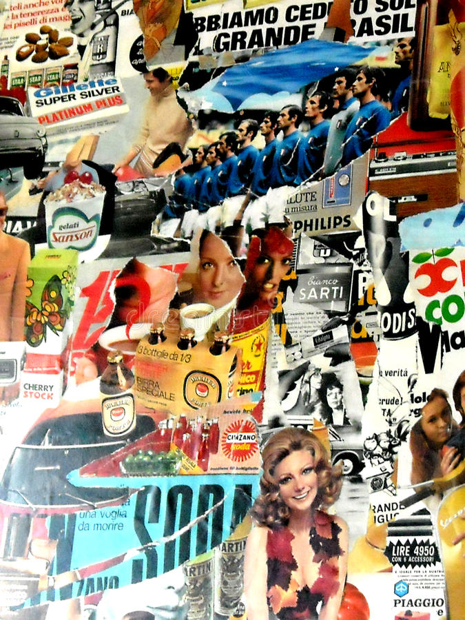 A colorful collage of vintage photo style royalty free stock photography