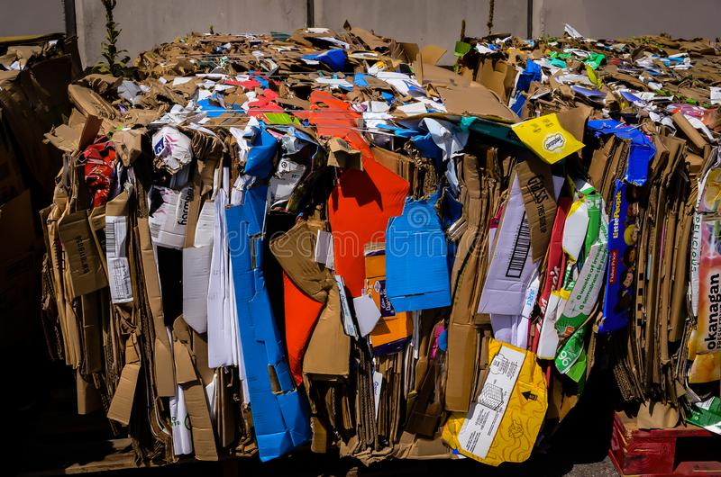 Colorful collapsed cardboard boxes baled for recycling a mundane image made interesting. The good practice of recycling is shown here stock image