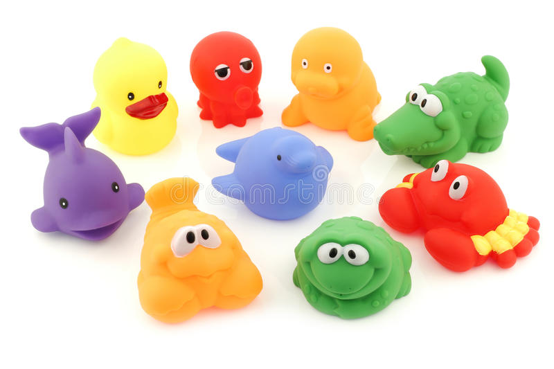 Colorful collection of bathing toys. On a white background stock photo