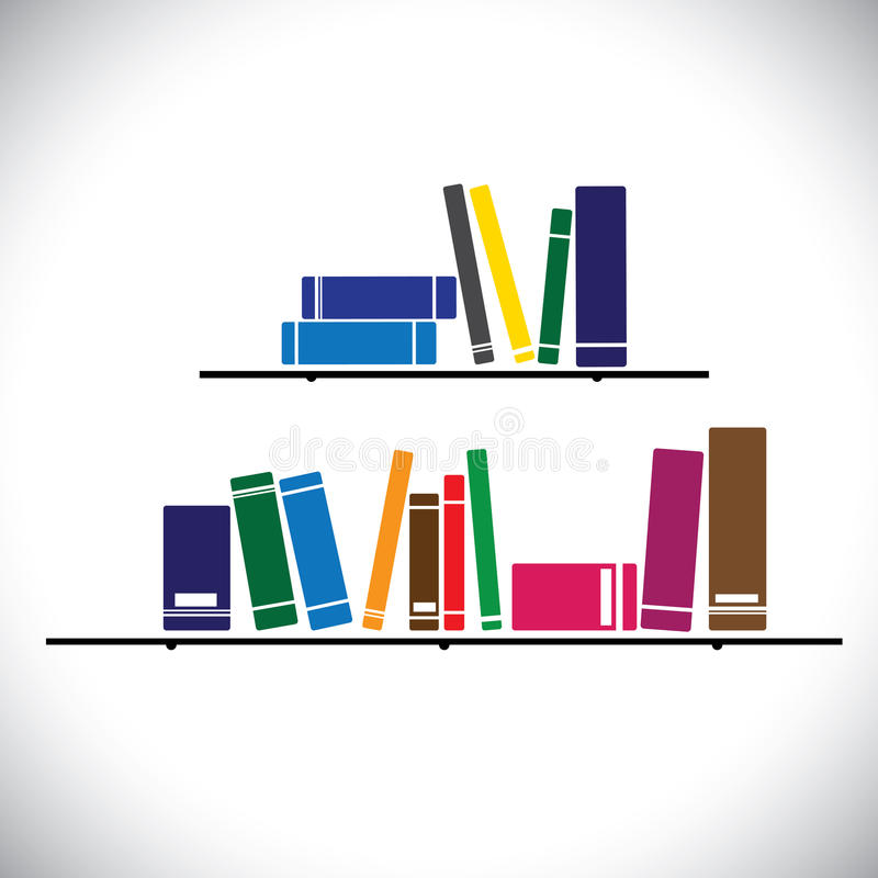 Colorful collection books on a library shelf - concept vector vector illustration