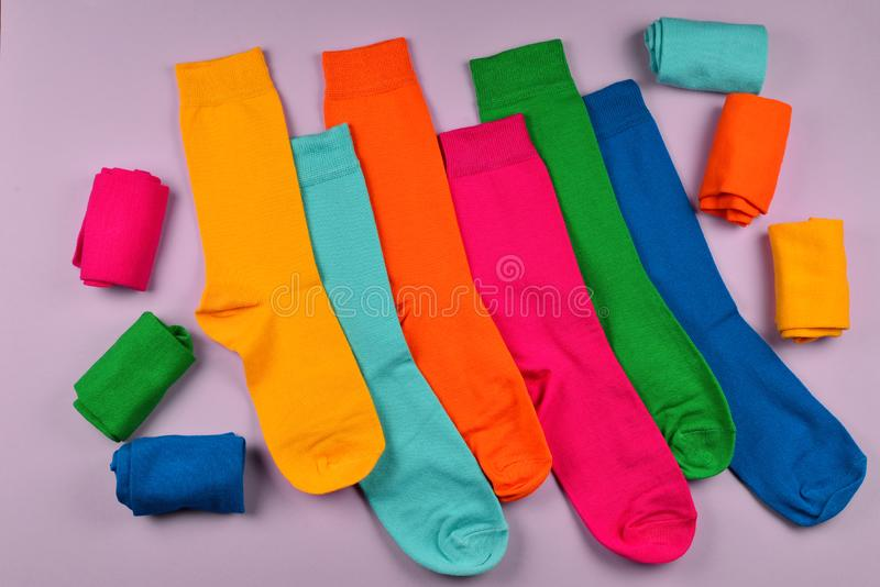Colorful collection of cotton socks. Top view. Top view. Top view stock images
