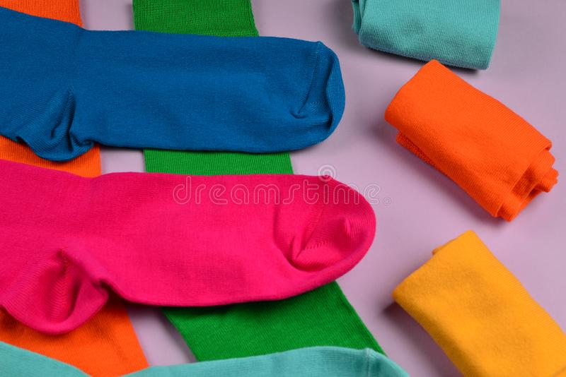Colorful collection of cotton socks. Top view. Top view. Top view stock image
