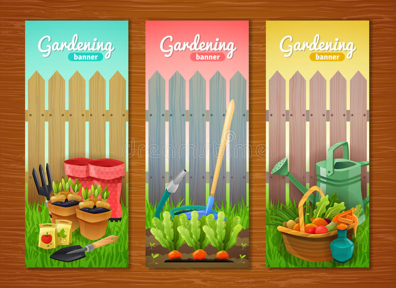 Colorful Collection Of Gardening Vertical Banners stock illustration