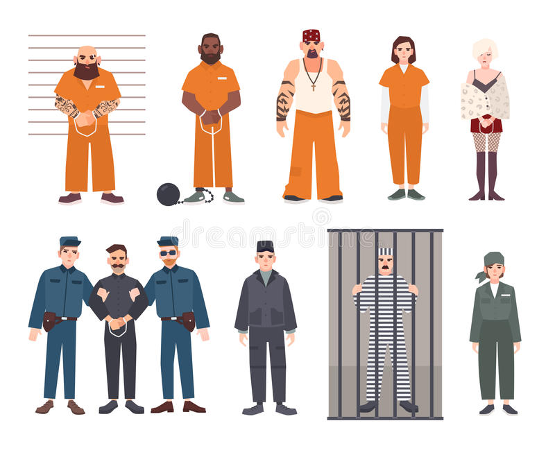 Colorful collection of male and female prisoners. Arrested men and women set. Flat vector illustration. vector illustration