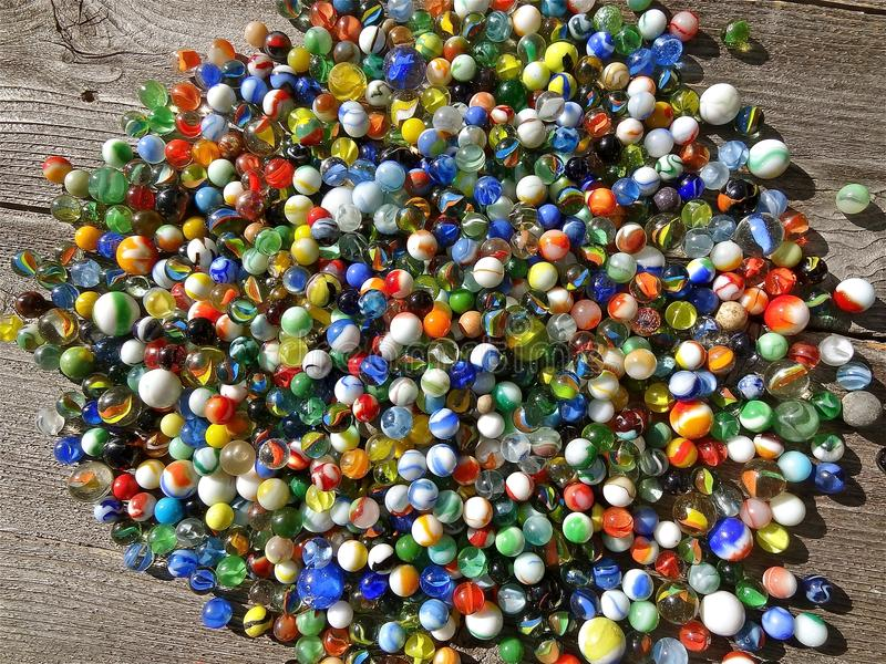 Colorful collection of marbles royalty free stock photo