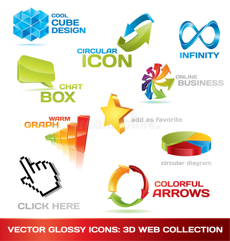 Free Colorful Collection Of 3d Web Icons Royalty Free Stock Images - 13343689