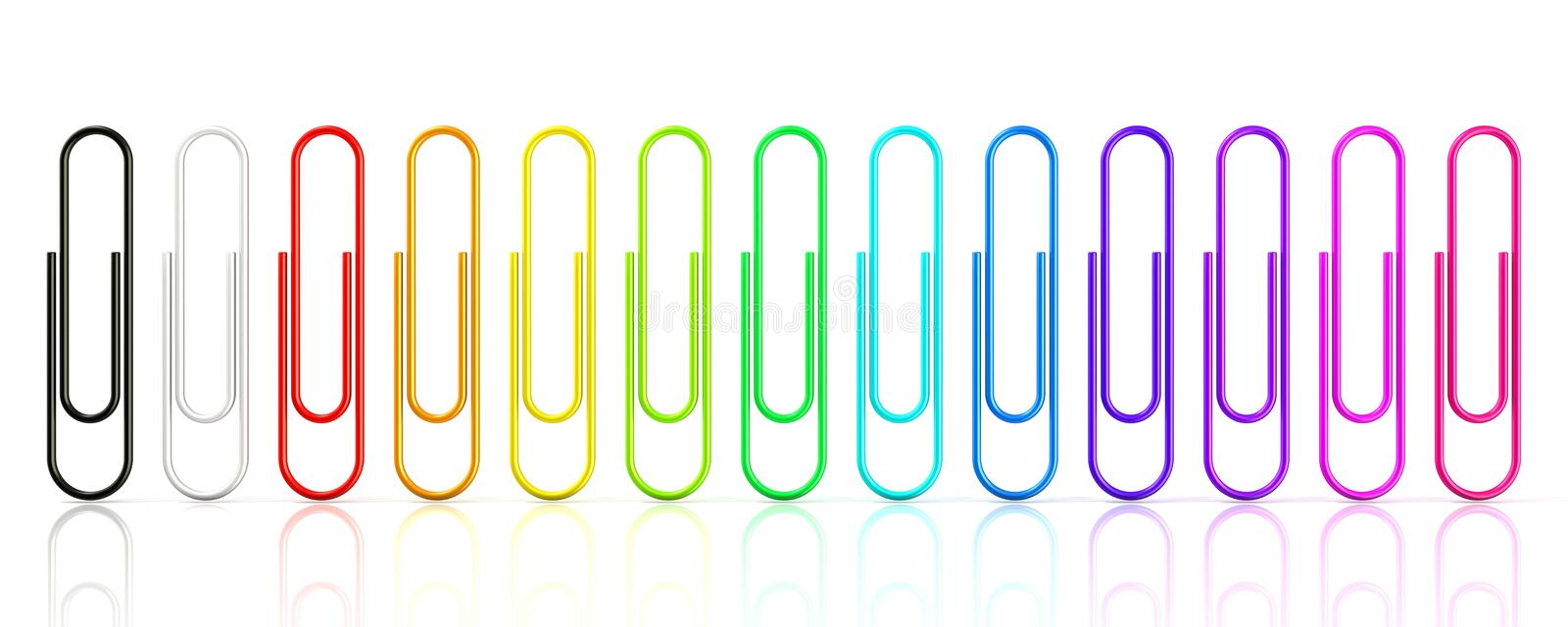 Colorful collection of paper clips isolated on white background vector illustration