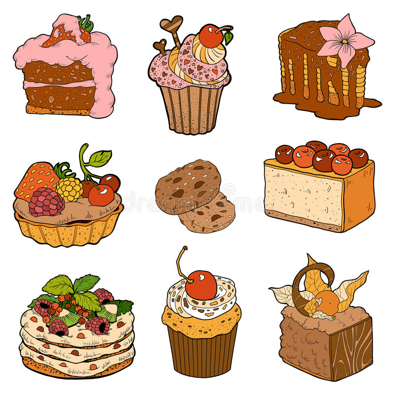 Colorful collection of sweet pastries. Cakes, cupcakes and cheesecake. Vector color collection of sweet pastries. Cakes, cupcakes and cheesecake vector illustration